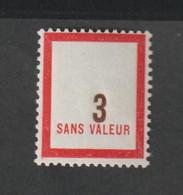 Fictif -   Emission 1956    - F119  -  3 Vermillon Et Brun Foncé -   Neuf Sans Charnière - Fictie