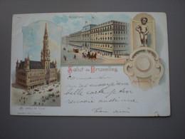 BRUXELLES - LITHO - GRAND HOTEL, HOTEL DE VILLE, MANNECKEN PIS - DEP E. WEIL 5144 - Otros