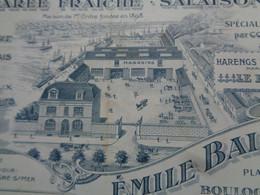 FACTURE - 62 - DEPARTEMENT DU PAS DE CALAIS - BOULOGNE/MER 1916 - MAREE FRAICHE, SALAISONS : EMILE BAILLE - Non Classés