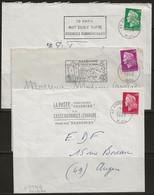 Marianne De Cheffer N°1536-1536A-1536B, Les 3 De Roulette Seul Sur Enveloppe. - 1967-70 Marianne De Cheffer