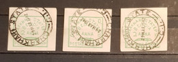 INDIA FIRST ISSUES OF INDIAN FEUDATORY STATES 3 STAMPS 2ANNA DULL GREEN CHARKHARI USED. - Ohne Zuordnung