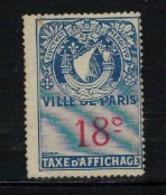 PARIS - Taxe D'affichage - 18 Ces; - Fiscales