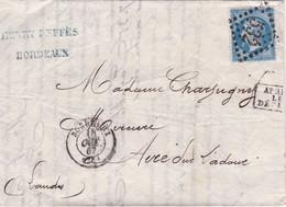 Yvert  22  Empire Franc LAC GC 532 Bordeaux  Pour Aire/Adour  Après Le Départ 1867 - 1849-1876: Periodo Classico