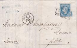 Yvert  22  Empire Franc LAC GC 532 Bordeaux   Pour Aire/Adour  Après Le Départ 18667 - 1849-1876: Periodo Classico