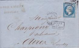 Yvert  22  Empire Franc LAC GC 532 Bordeaux   Les Salinières Pour Aire/Adour  Après Le Départ 1867 - 1849-1876: Periodo Classico