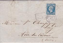 Yvert  22  Empire Franc LAC GC 532 Bordeaux   Les Salinières Pour Aire/Adour  Après Le Départ 1863 - 1849-1876: Periodo Classico
