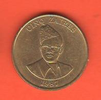 Zaire 5 Cinq Zaires 1987 Bronze  Coin - Zaire (1971-97)