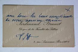 Carte De Visite, Ferdinand BRUNOT, Professeur D'université, Précurseur De La Recherche Linguistique Française - Autographs