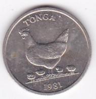 Tonga 5 Seniti 1981 FAO.  Taufa'ahau Tupou IV, Copper-nickel, KM# 68 - Tonga