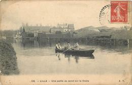 LILLE-une Partie De Canot Sur La Deûle (état) - Lille