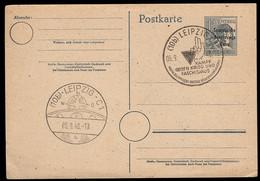 Soviet Zone (1948) Kampf Gegen Krieg Und Faschisus Cancel On 12 Pf Overprinted Postal Card. - Zona Soviética