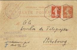 France 1920 - Carte Postale - Semeuse 10 C + Complément  10 C - Double Cachet Hexagonal - De Hannenkirsch à Strasbourg - Standard- Und TSC-Briefe (vor 1995)