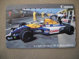 6876 Télécarte Collection  VOITURE Formule1 GRAND PRIX 92  RENAULT CANON WILLIAMS (scans Recto Verso)  Carte - Voitures