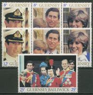 Guernsey 1981 Prinz Charles Lady Diana 225/31 2x 3er-Streifen + 1 W Postfrisch - Guernsey