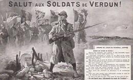 AK Salut Aux Soldats De Verdun -  Ordre Du Jour Joffre - Franz. Soldaten - Fahnen - 1915 (54991) - Guerra 1914-18