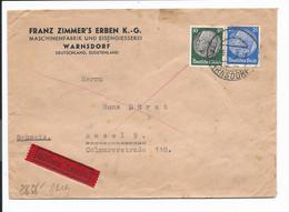 DR  522, 525 MiF - 50+25 Pf Hindenburg Med. Eilboten-Brief Von Warnsdorf M. Apt. Stempel N. Basel Verwendet, Zensur - Storia Postale