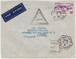 PA 7 Sur Lettre Paris - Madrid Via Bordeaux Du 15 Mai 1935 - Air Post