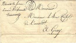 Lettre En Franchise Du Maire  De GY ( Saône Et Loire )  Cad T15  Pour Le Sous-Préfet à Gray - 1849-1876: Classic Period