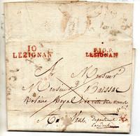 J431  Lesignan Lezignan Aude 1821  P10P Rouge Et 10 Lezignan Rouge Sur LAC - 1801-1848: Precursores XIX