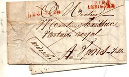 J430  Lesignan Lezignan Aude 1821  P10P Rouge Et 10 Lezignan Rouge Faible Sur LAC - 1801-1848: Precursores XIX