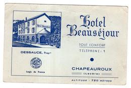 Hôtel Beauséjour. Chapeauroux ( Lozère ) - Werbung