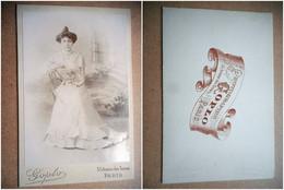 PHOTO GRAND CDV 19 EME JEUNE FEMME ELEGANTE ROBE MODE Cabinet GOPLO A PARIS - Old (before 1900)