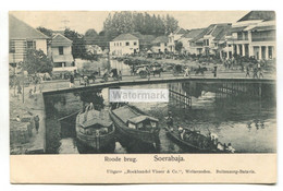 Soerabaja, Indonesia - Roode Brug, Bridge, Boats, People - Postcard Sent To Scotland In 1912 - Indonesia
