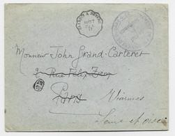 NIEVRE URZY LETTRE FM CONVOYEUR CLAMECY A NEVERS 27 JUIL 17 + CACHET BLEU DETACHEMENT DE PRISONNIERS DE GUERRE - 1. Weltkrieg 1914-1918