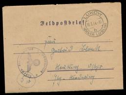 P0375 - DR GG Propaganda Feldpost Briefumschlag: Gebraucht Lukow Lublin - Hindenburg Ostpreußen 1944 ,Bedarfserhaltung - Covers & Documents