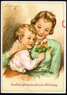 A9406 - Lingen Glückwunschkarte - Kleiner Junge Blumen - Künstlerkarte Bernhard Sporn Zeulenroda - Festa Della Mamma