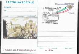"""REPIQUAGE - CARTOLINA POSTALE - ANNULLO SPECIALE """"BOLOGNA CENTRO*26.4.2014*IL NAVILE, VIA D'ACQUA BOLOGNESE..."""" - Stamped Stationery"""