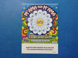ITALIA BIGLIETTO LOTTERIA GRATTA VINCI USATO € 3,00 M'AMA NON M'AMA VARIANTE LOGO ADM ITALY LOTTERY TICKET - Billetes De Lotería