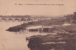 V19-47) AGEN - LA GARONNE, LE PONT DE PIERRE ET LE CANAL DE DESCENTE - ( 2 SCANS ) - Agen
