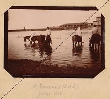 1902 Photo Militaire école à Feu De Pontarlier Manoeuvres Vers Bourges Tournus Saone Et Loire - Guerra, Militares
