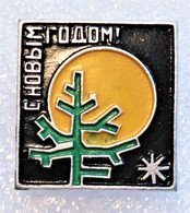 HAPPY NEW YEAR FROM RUSSIA SSSR THE SOVIET UNION, Christmas TREE, Moon & Snowflake / Green Forest - Natale