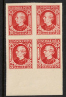 SLOVAKIA, 1939  20h RED IMPERF BLOCK 4 MNH - Nuevos