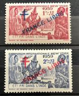 INDE 1941 - NEUF*/MH - YT 175 / 176  - SURCHARGE FRANCE LIBRE - CV 11 EUR - Unused Stamps