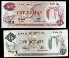 GUYANA BANKNOTE - 2 NOTES 1, 5 DOLLARS (1992) P#21g-22f UNC (NT#03) - Guyana