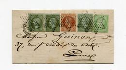 !!! AFFRANCH TRICOLORE 2 EMISSIONS SUR DEVANT DE LETTRE DE 1869 OBLIT ETOILE 2 RUE ST LAZARE - 1849-1876: Periodo Classico