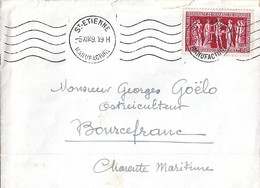 TP N° 849 SUR LETTRE DE ST ETIENNE/MANUFACTURE/5.12.49 (KRAG) - 1921-1960: Modern Tijdperk