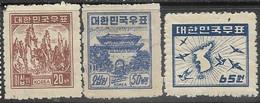 South Korea   1949   Sc#102, 104, 110  With 65wn Map  MH  2016 Scott Value $3.85 - Corée Du Sud
