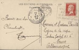 YT 175 Pasteur Rouge 45c CAD Paris R H. Lebas 13 X 24 Pour Allemagne Occupée Transit Poste Militaire Belgique 14 10 24 - 1921-1960: Periodo Moderno