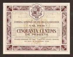ANDORRA. 50 Centims 19.12.1936. Pick 5. UNC. - Andorra