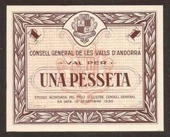 ANDORRA. 1 Pesseta 19.12.1936. Pick 6. UNC. - Andorra