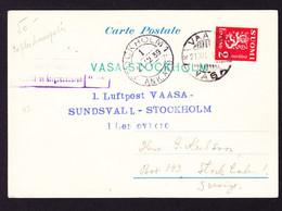 1939 Postkarte, Erstflug Vaasa - Sundsvall-Stockholm. Kriegszensur Stempel - Covers & Documents