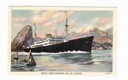 """USA """"Delta Liner Entering Rio De Janeiro"""", Old Linen Postcard - Steamers"""