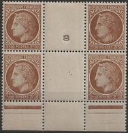 Cérès De Mazelin N°681 : Timbres Neufs** Bloc De 4 Avec Chiffres Obstrués Sur 2 Timbres. - Varietà: 1945-49 Nuovi