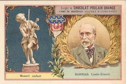Chromo  CHOCOLAT POULAIN  /  Les  Sculpteurs  Célèbres  /  BARRIAS  Louis-Etienne  /  Statue :  Mozart Enfant - Poulain