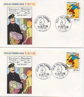 2 Enveloppes FETE DU TIMBRE 2000 TINTIN - Oblitération 11.03.2000 83 TOULON - TBE - Cartas
