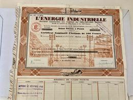L' ÉNERGIE  INDUSTRIELLE --------Certificat D' Une  Action  Nominative De 500 Frs - Electricity & Gas